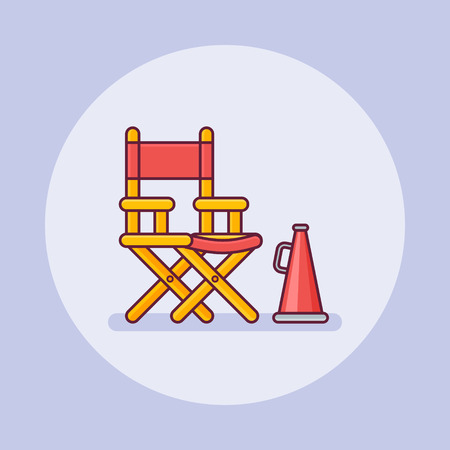 Film director chair with megaphone flat line icon on purple background. Vector illustration.