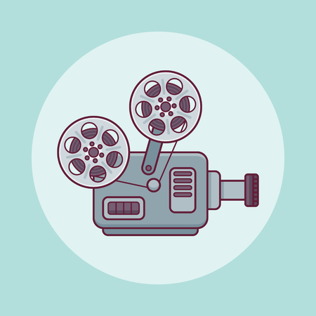 Movie projector flat line icon on teal background. Vector illustration.