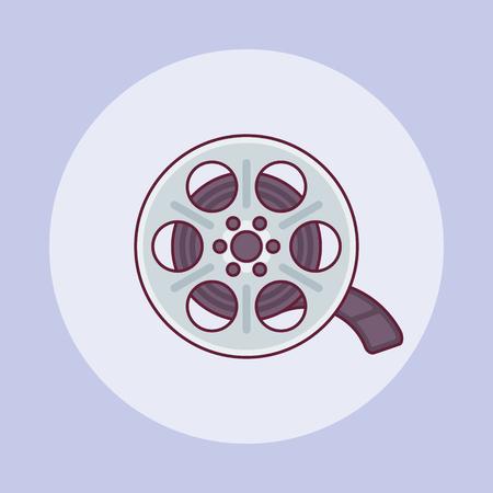 Film reel flat line icon on purple background. Vector illustration. Ilustração