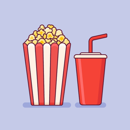 Popcorn bucket with cup of soda flat line icon on purple background. Vector illustration.