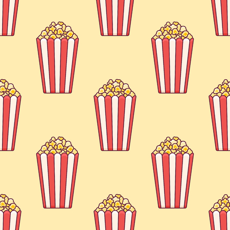 Seamless pattern with popcorn bucket on yellow background. Vector texture.