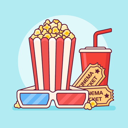 Popcorn bucket with cup of soda, tickets and 3D glasses. Cinema flat line design. Vector illustration.