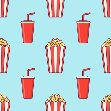 Seamless pattern with popcorn bucket and cup of soda on blue background. Vector texture. Ilustração
