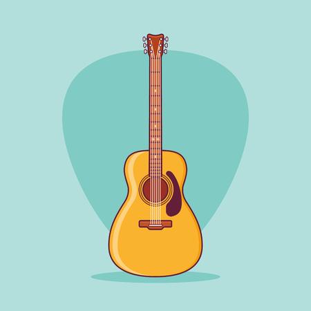 Acoustic guitar flat line icon on teal background. Vector illustration. Ilustração