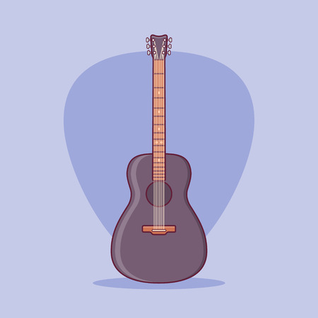 Black acoustic guitar isolated on purple background. Flat line icon. Vector illustration.