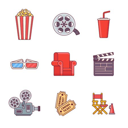 Set of cinema flat line icons isolated on white background. Vector illustration.