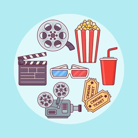Set of cinema design elements. Popcorn, soda, ticket, film reel, glasses. Movie flat line icons. Vector illustration. Stock Illustratie