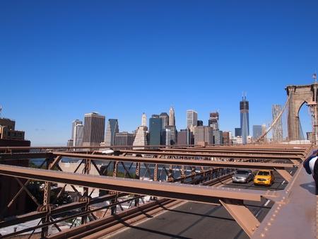 Manhattan Downtown as seen from Brooklyn Bridge 版權商用圖片