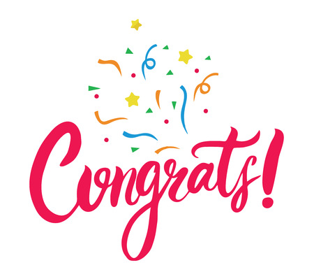 Congrats hand written lettering for congratulations card. Modern brush calligraphy. Isolated on background. Vector illustration.