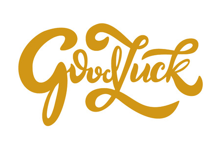Hand sketched Good Luck T-shirt lettering typography. Drawn inspirational quotation, motivational quote. Fortune logotype, badge, poster, logo, tag. Banner on textured background. Vector illustration 向量圖像