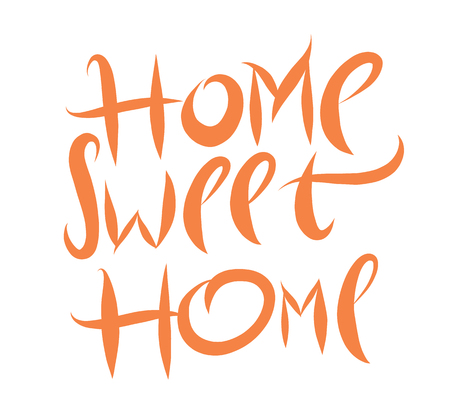 Home sweet home hand drawn vector lettering poster isplated on white background. Illustration