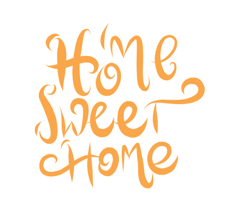 Home sweet home hand drawn vector lettering poster.