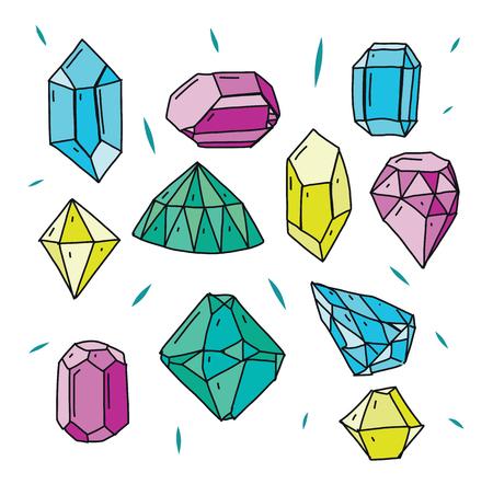 Diamond vector icons set. Hand drawn vector illustration.