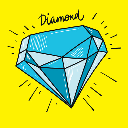 Diamond hand drawn vector illustration. Stock Photo