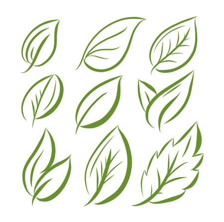 Leaves icon hand drawn vector set isolated on white background.