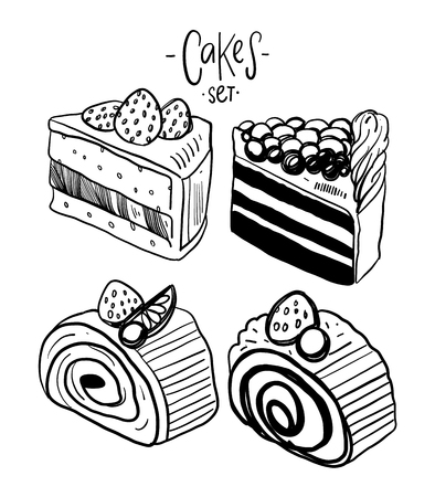 Colorful sweet cakes slices pieces set vector illustration isolated on white background