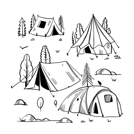 Camping travel objects doodle vector set isolated. Stock Illustratie