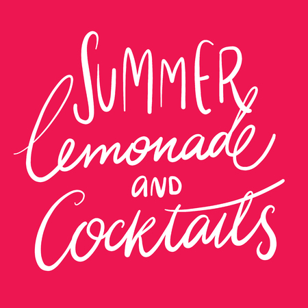 Summer lemonade and cocktails hand drawing vector lettering.