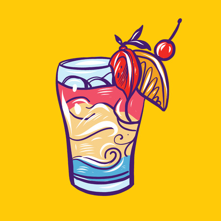 Hand drawn cocktails summer vector illustration.