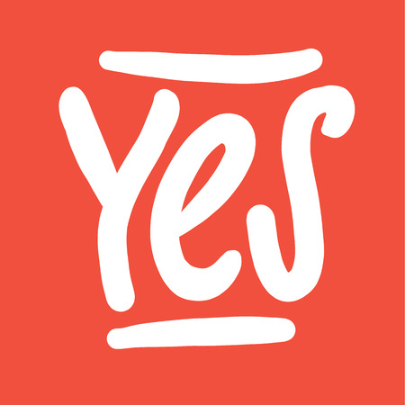 Banner Yes hand drawn vector lettering. Illustration