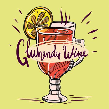 Hand drawn alcoholic co cocktail gluhendu wine