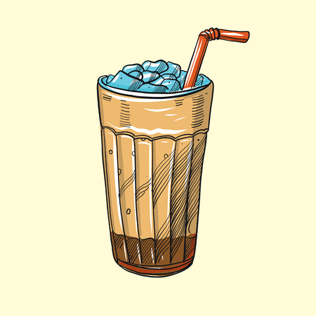 Cold brew iced coffee hand drawn vector illustration.