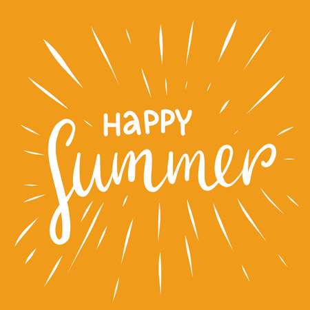 Hello Summer hand drawn vector lettering isolaed on yellow background. Stock Illustratie
