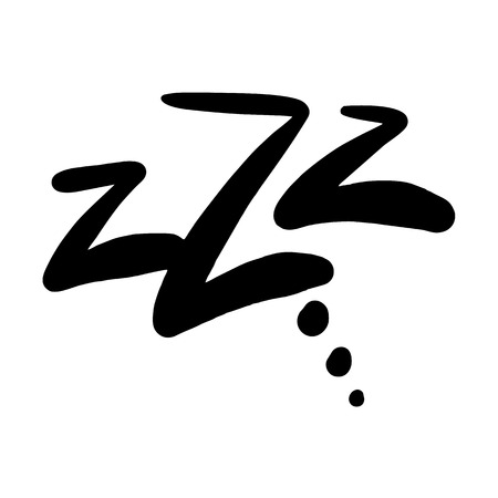 Sleep comic bubble zzz. Sleeping bubble icon hand drawn vector illustration black ink isolated on white background.