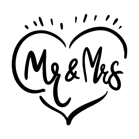 Mr and Mrs. Brush pen lettering. Wedding words. Bride and groom. Black ink isolated on white background. Ilustração