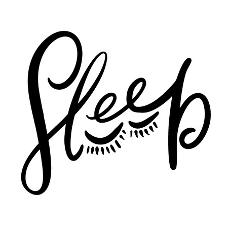 Sleep hand drawn vector letterting black ink isolated on white background. 向量圖像