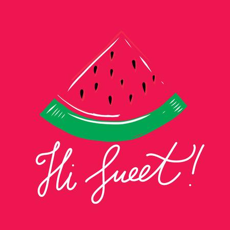 Hello sweet heart. Summer illustration. Vector hand drawn illustration. Illustration