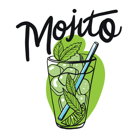 Cocktail mojito in sketch style for menu. Mojito Contemporary Classic cocktail. Longdrink. Fresh lemonad soda summer drink.