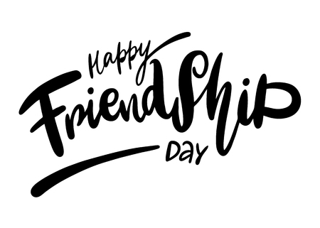 Happy Friendship day hand drawn vector lettering.