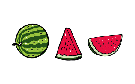Summer Watermelon. Slice. Hand drawn vector illustration. Isolated on white background.