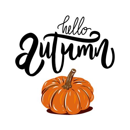 Autumn Pumpkin. Hand drawn vector illustration. Modern brush calligraphy.