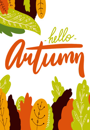 Hello Autum season design. Leaves hand drawn vector set illustration. Isolated on white background.