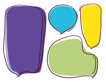 Speech bubble colorful set. Vector illustration. Isolated on white background.