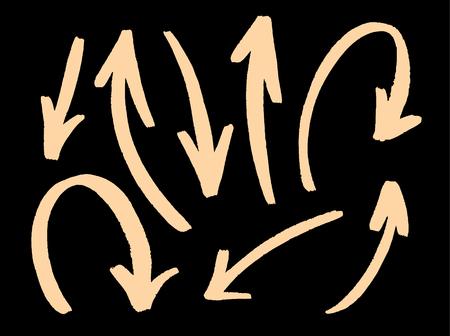 Arrows set hand drawn vector isolated on black background. Vector illustration. Çizim