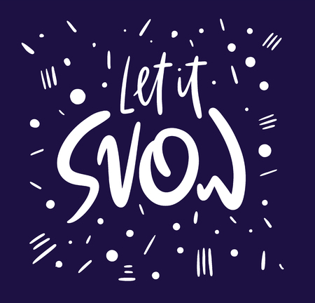 Let it snow vector calligraphy. Vector lettering. Isolated on white background. Stock fotó