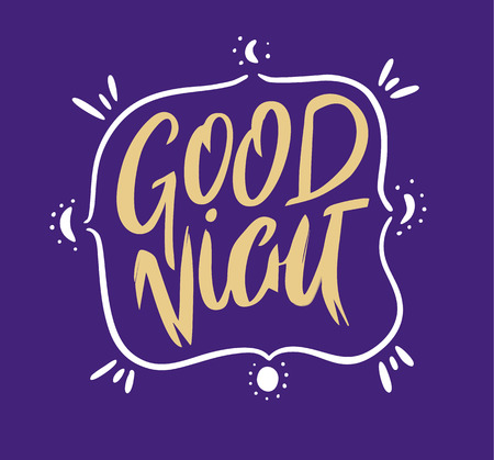 Good Night vector lettering. Motivational text. For logotype, badge, icon, card, postcard, logo, banner, tag. Isolated.