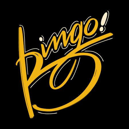 Bingo Vector illustration. Hand drawn lettering on black background. Vettoriali