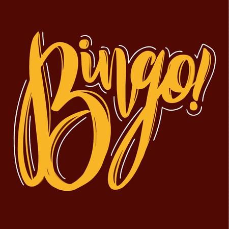 Bingo Vector illustration. Hand drawn lettering on background. Vettoriali