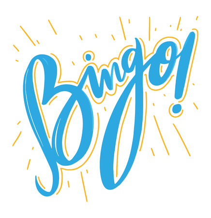 Bingo Vector illustration. Hand drawn lettering on whitebackground. Иллюстрация