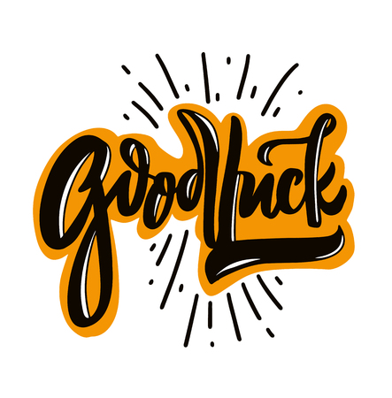 Goodluck hand drawn vector lettering. Modern brush calligraphy. Vector illustration. Isolated on white background.