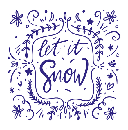 Let it snow vector calligraphy. Vector lettering. Isolated on white background
