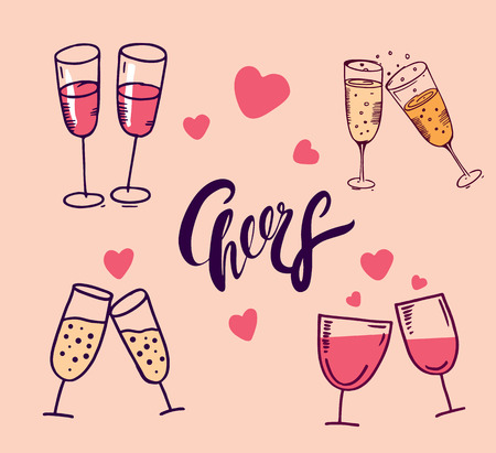 Cheers set vector hand drawn illustration isolated on background. Çizim