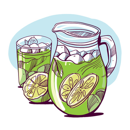 Glass of mojito, ice cubes, mint leaves, lime slice and whole lime. Hand drawing alcohol cocktail. Vector illustration in cartoon style. Summer green drink. Cold cocktail poster.