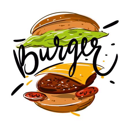 Ilustración de vector dibujado a mano hamburguesa aislado sobre fondo.