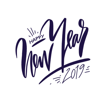 Happy New 2019 Year. Holiday hand drawn vector Illustration with Lettering Composition. Isolated on white background. Illustration