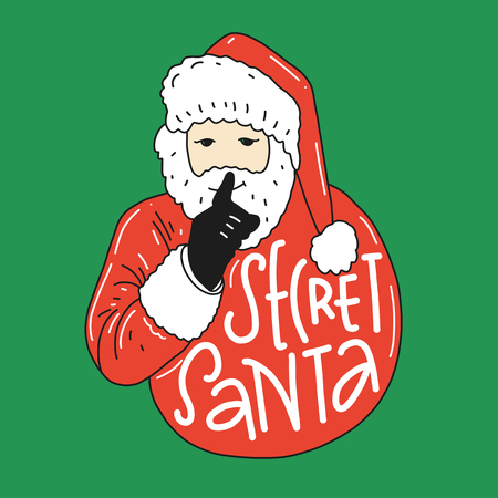 Secret Santa vector illustration with Santa Claus. Brush calligraphy lettering. Isolated on background EPS